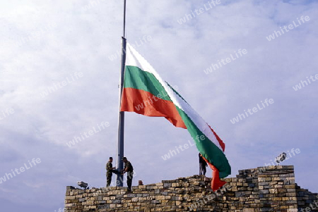 the army of Bulgaria with the Bulgaria Flag at Fort of the city of Veliko Tarnovo in the north of Bulgaria in east Europe.