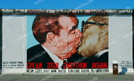 Berlin. Berliner Mauer / East Side Gallery. Artwork by Dimitrij Vrubel